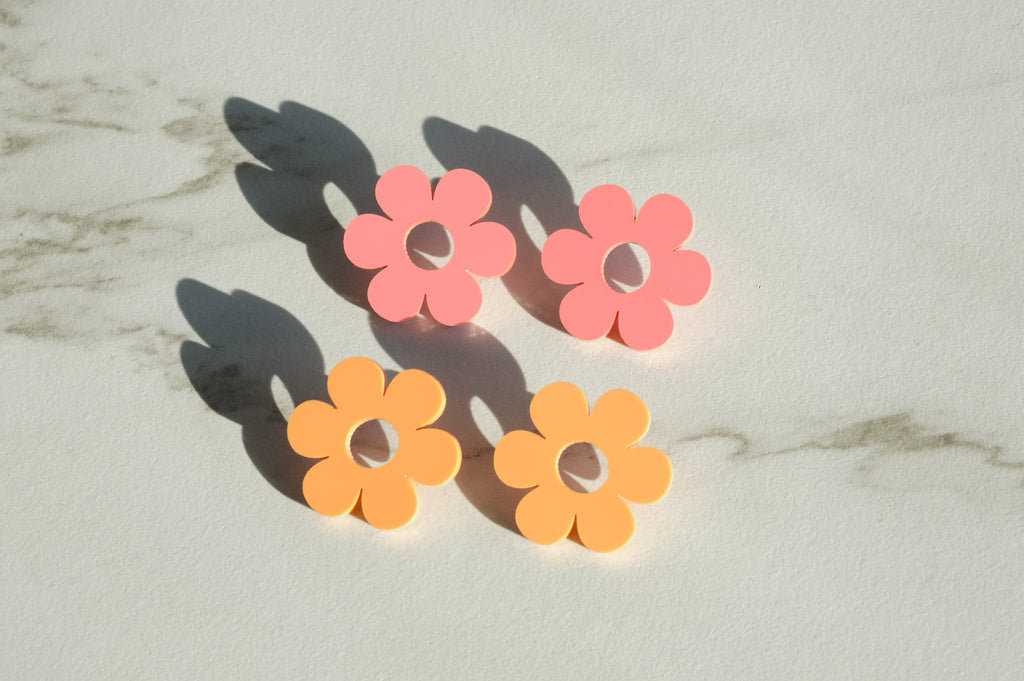 Daisy Earrings - Pastel Raspberry Acrylic Statement Studs - SleepyMountain