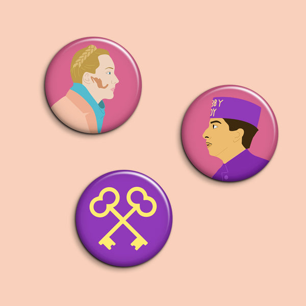 Set of 3 Grand Budapest Hotel Buttons