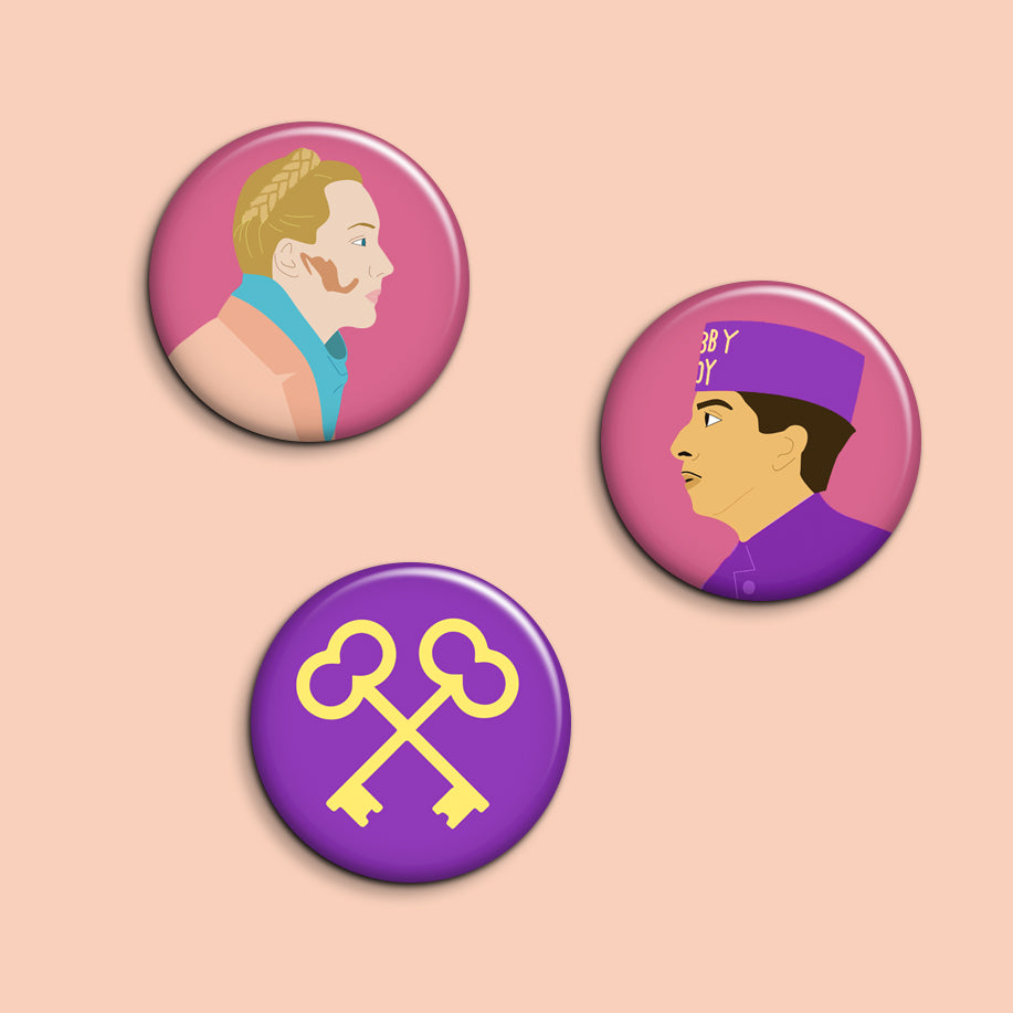Set of 3 Grand Budapest Hotel Buttons - SleepyMountain
