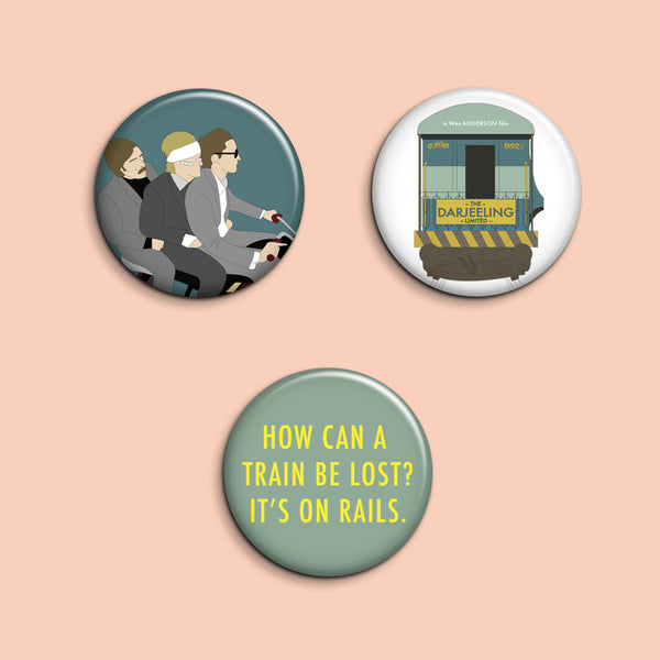 Set of 3 Darjeeling Limited buttons