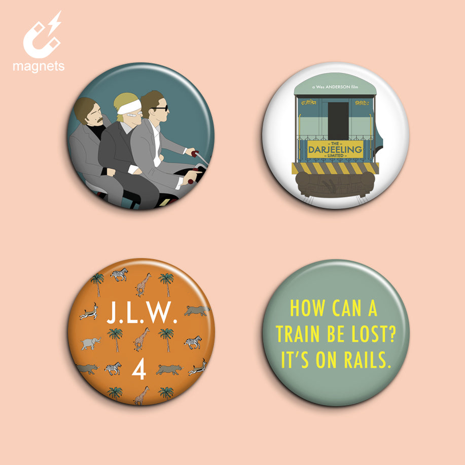 Set of 4 Darjeeling Limited Magnets - SleepyMountain