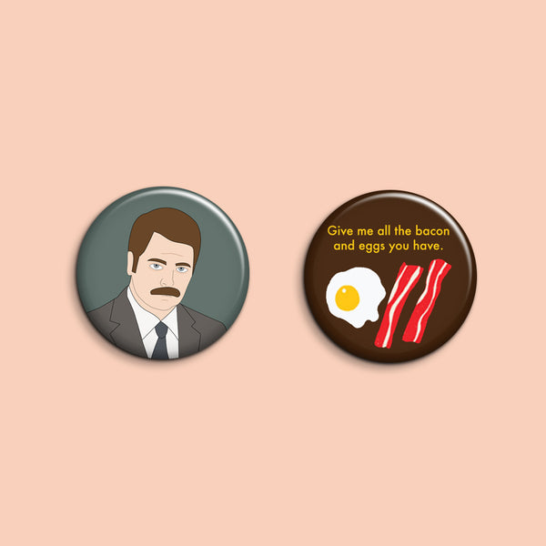 Set of 2 Ron Swanson Buttons