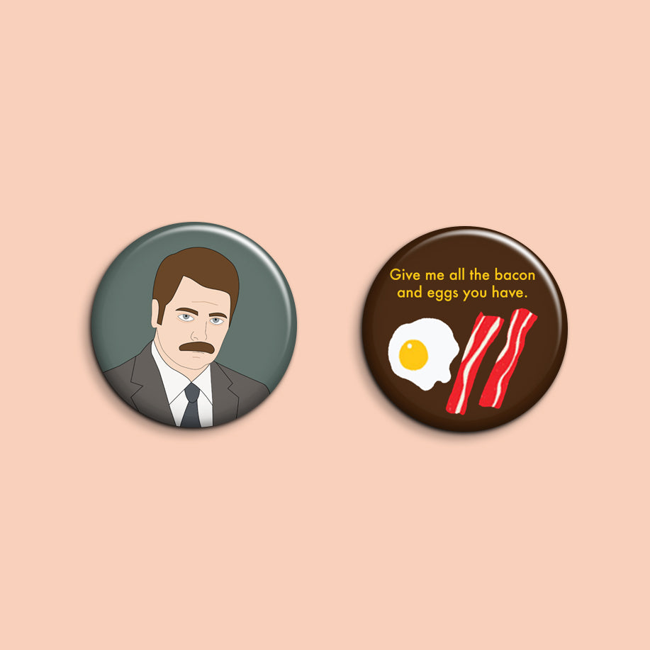 Set of 2 Ron Swanson Buttons - SleepyMountain