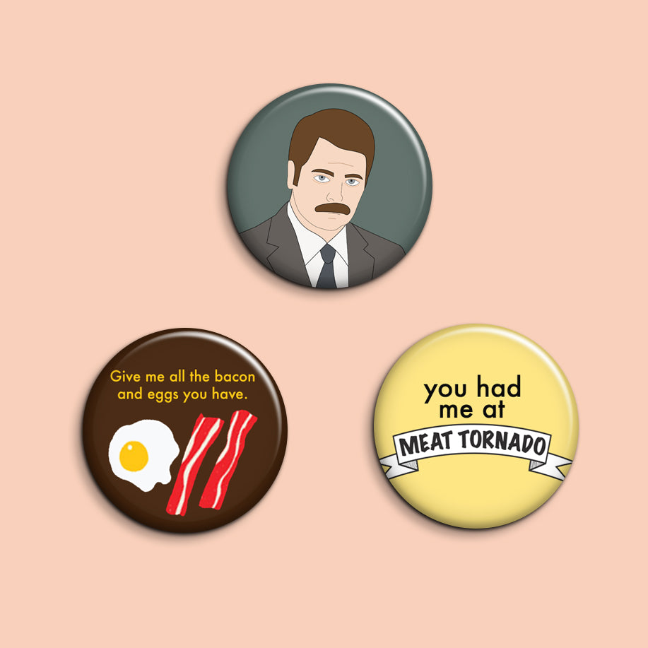 Set of 3 Ron Swanson Buttons - SleepyMountain