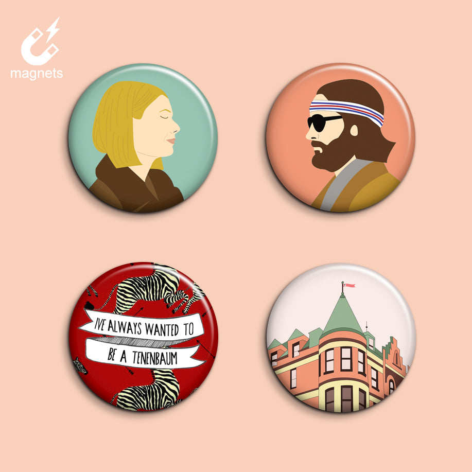 Set of 4 Royal Tenenbaums Magnets - SleepyMountain