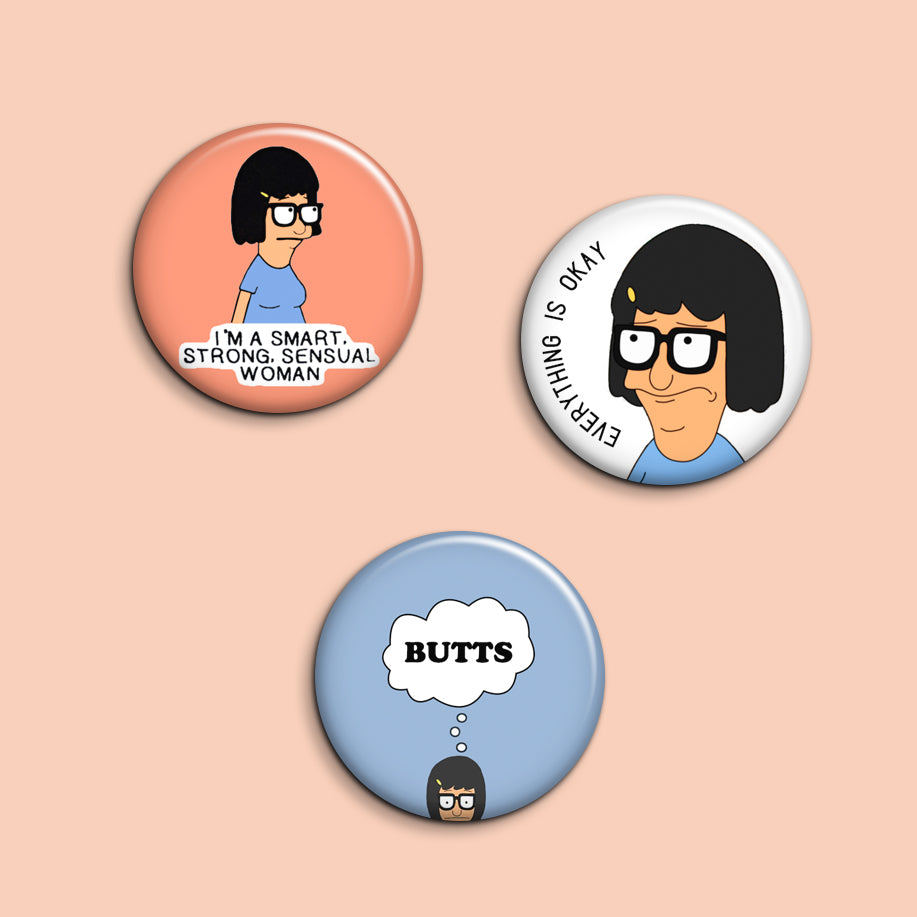 Tina Belcher Buttons - Set of 3 - SleepyMountain