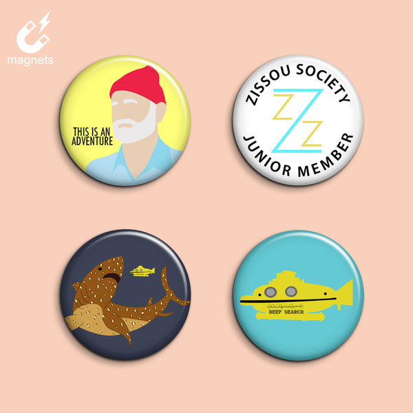 Steve Zissou Magnets - Set of 4 - SleepyMountain