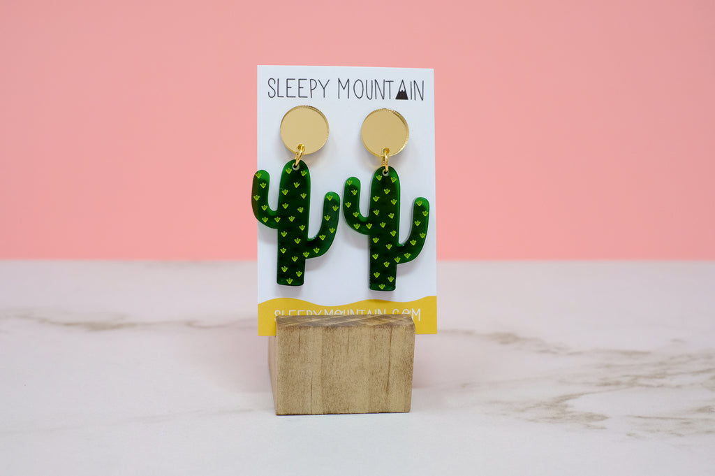 Cactus Earrings - Green Dangles - SleepyMountain