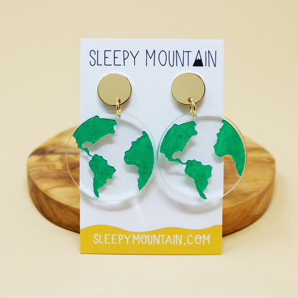 Globe Earrings - Clear Acrylic Dangles - SleepyMountain