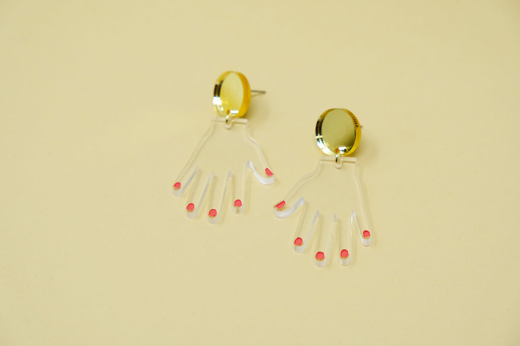 Hand Earrings - Dangle Nail Polish - SleepyMountain