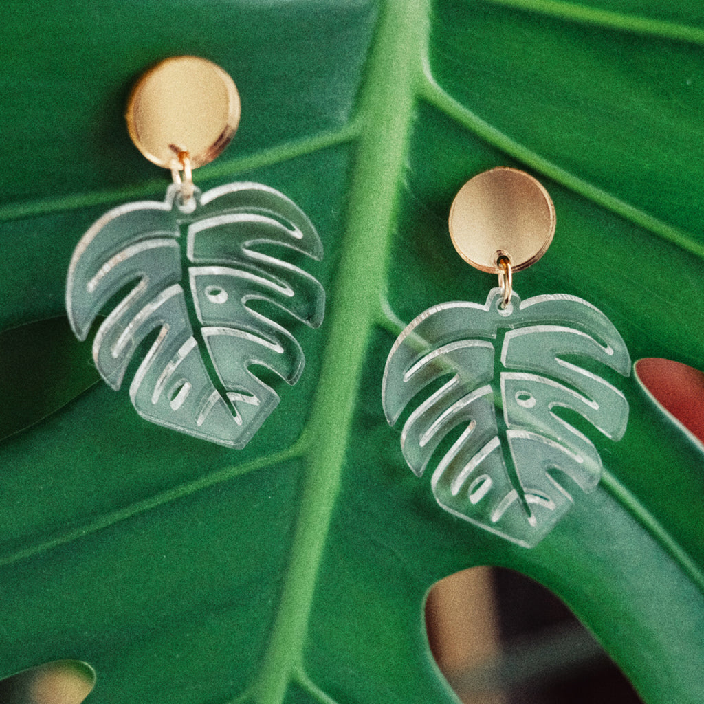 Monstera Leaf Earrings - Clear Acrylic Dangles - SleepyMountain