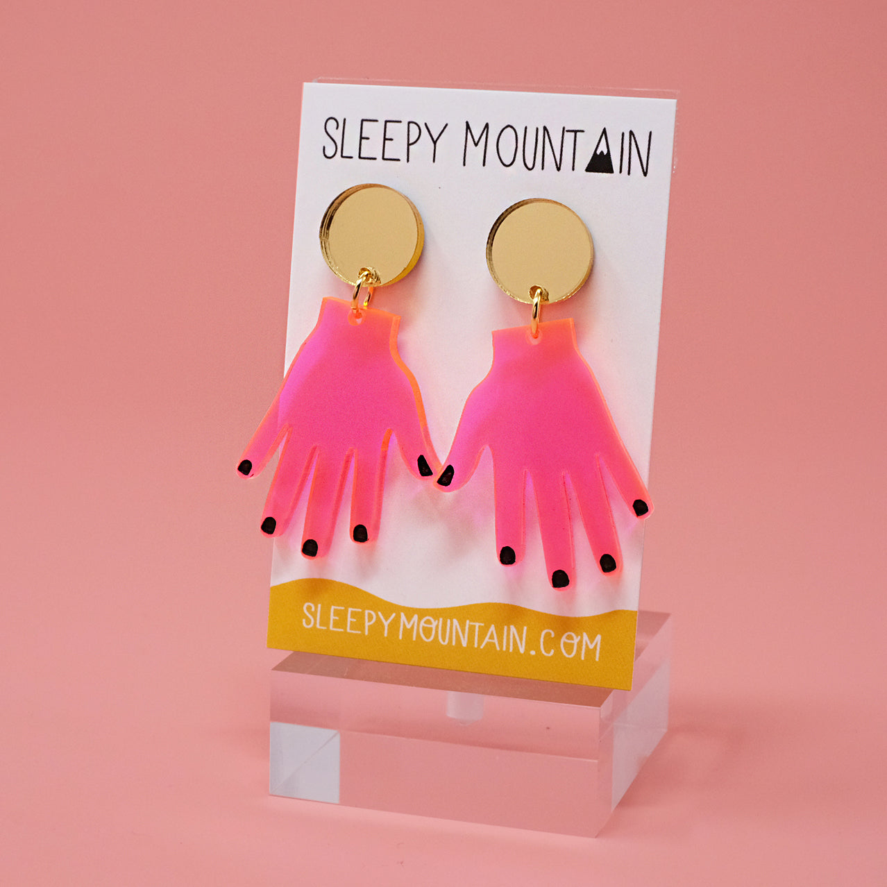 Neon Pink Hands Dangle Earrings - SleepyMountain