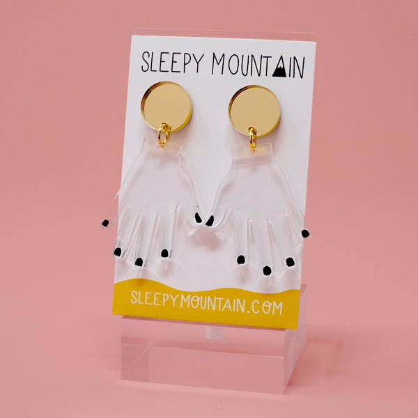 Clear Hands with Black Nails Dangle Earrings - SleepyMountain