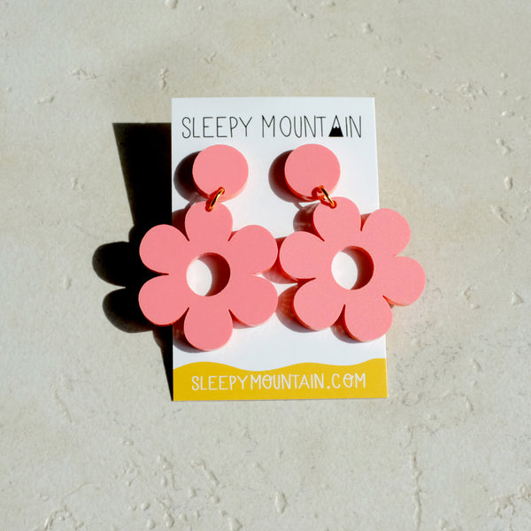 Daisy Earrings - Pastel Raspberry Acrylic Dangles - SleepyMountain