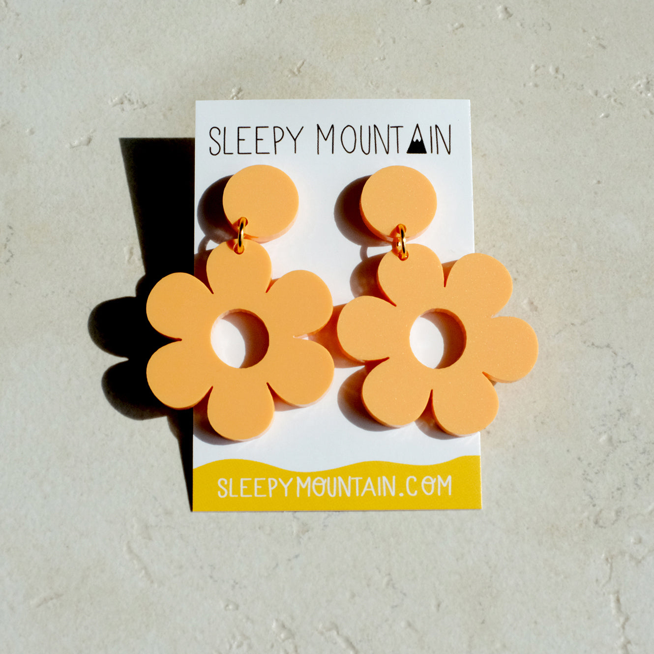 Daisy Earrings - Pastel Orange Acrylic Dangles - SleepyMountain