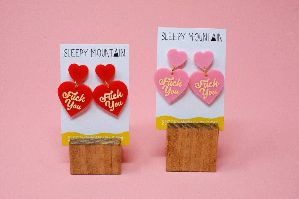 F U Double Heart Dangles - Red - SleepyMountain