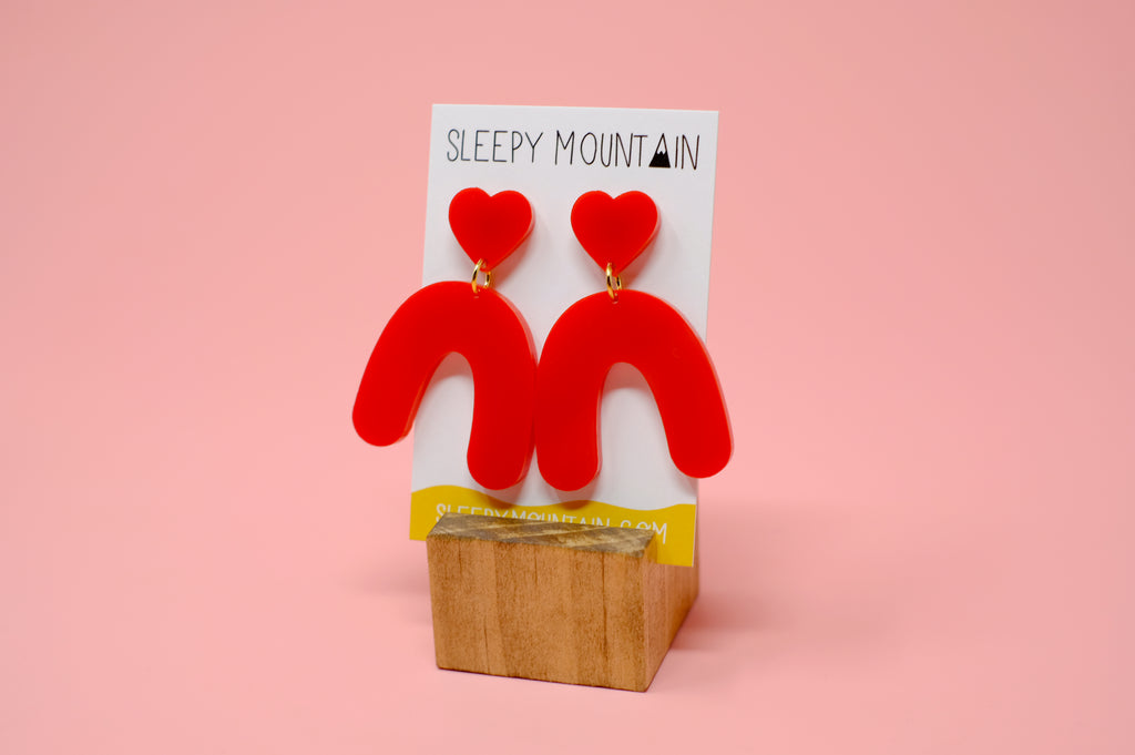 Heart Arches - Red Acrylic - SleepyMountain