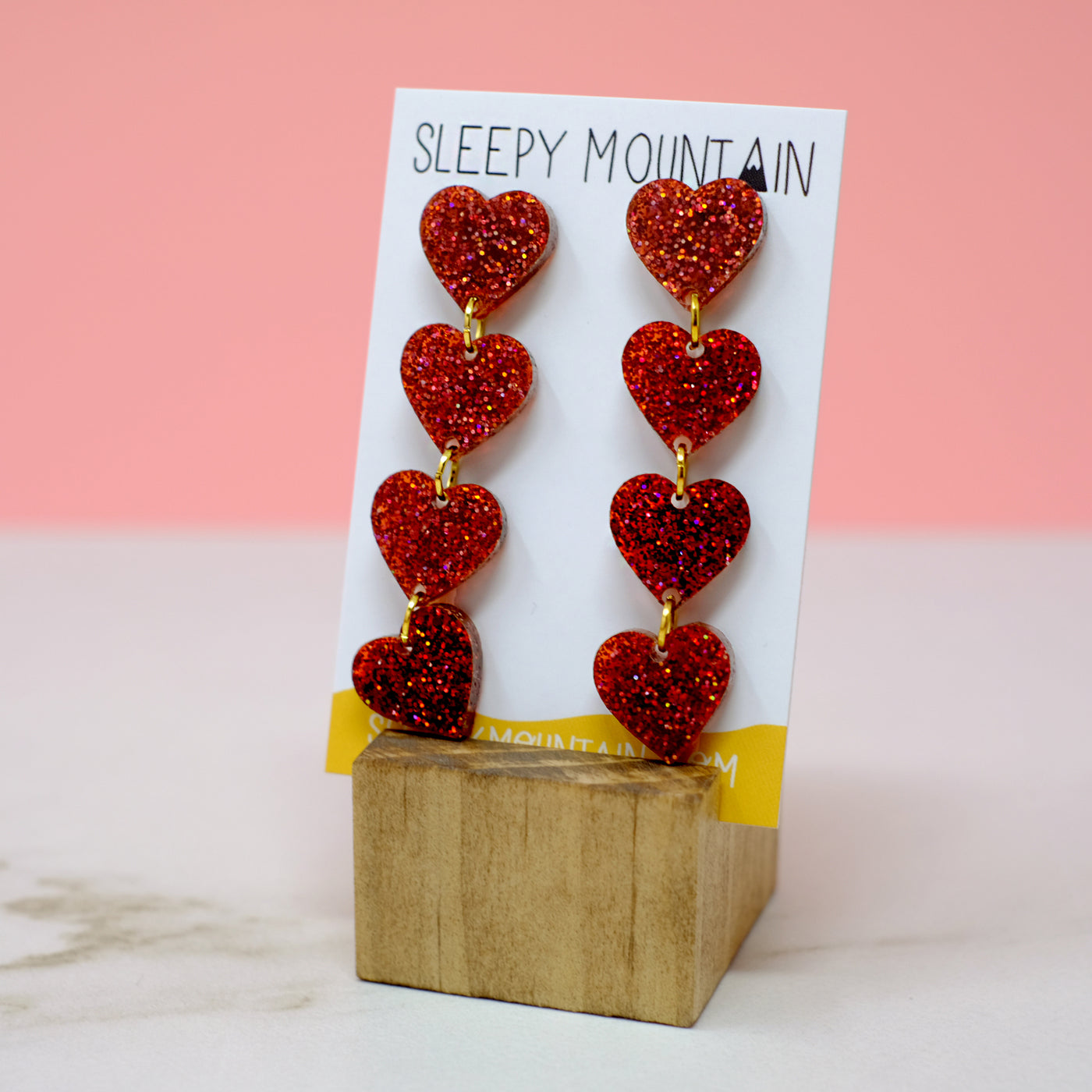 String of Hearts Earrings - SleepyMountain