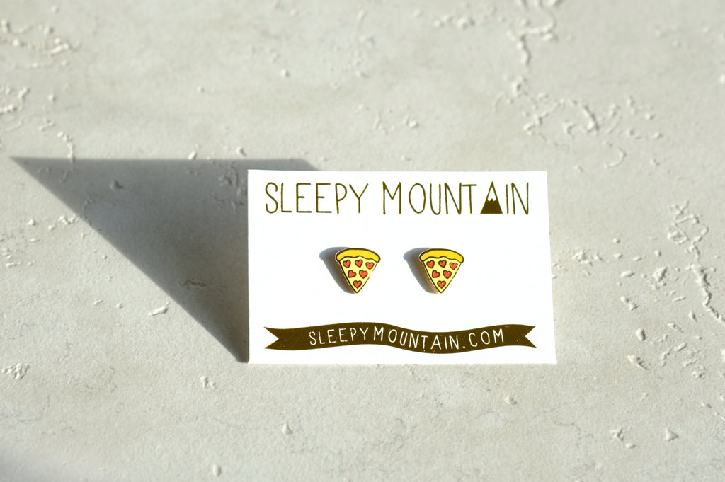 Pizza Heart Pepperoni Gold Stud Earrings - SleepyMountain