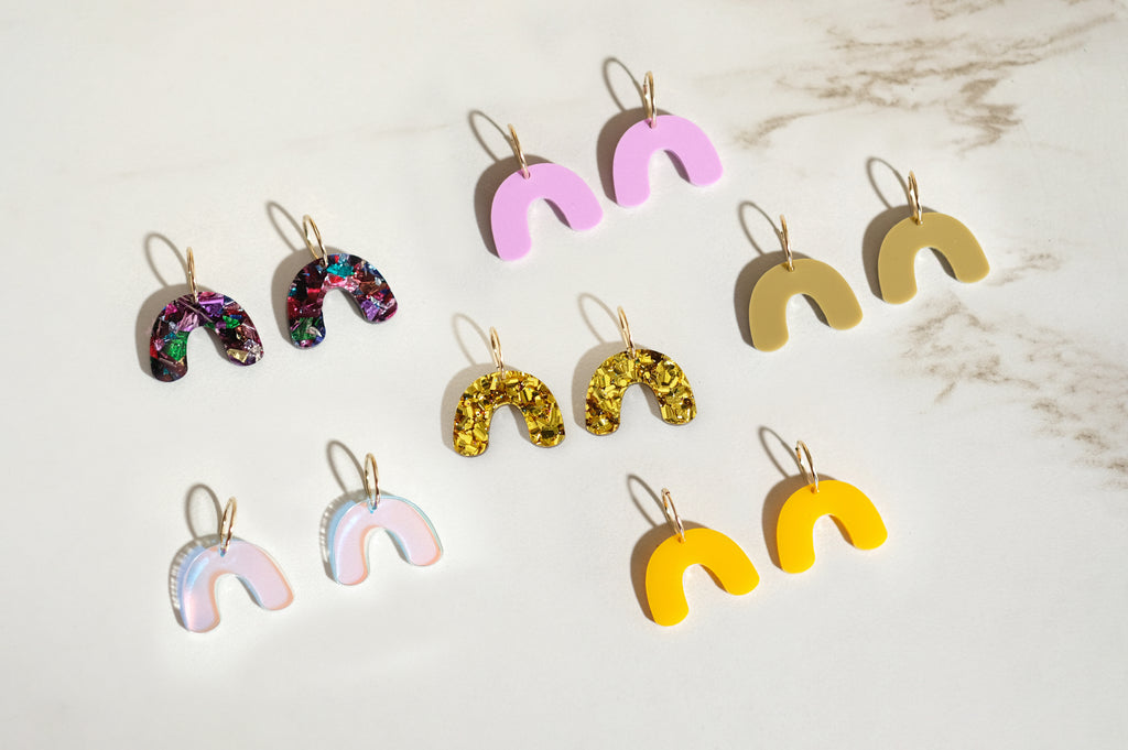 Amber Yellow - Mini Arch Hoop Earrings - SleepyMountain