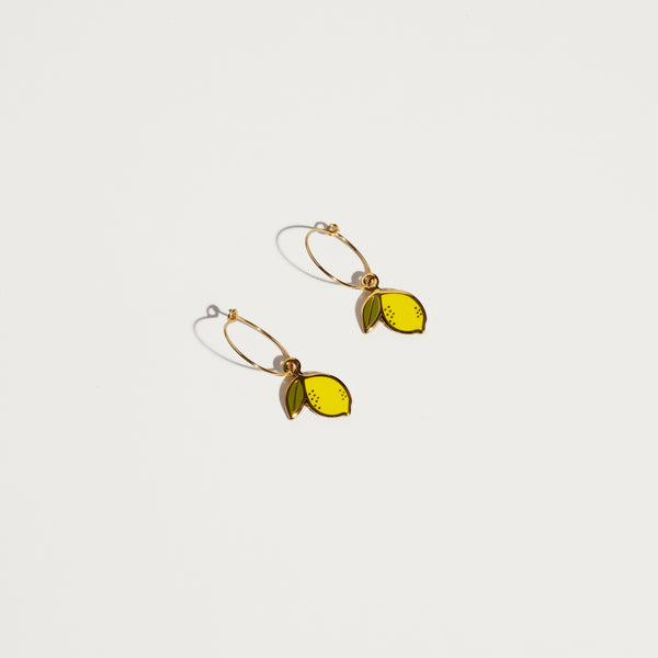 Lemon Hoop Earrings - SleepyMountain