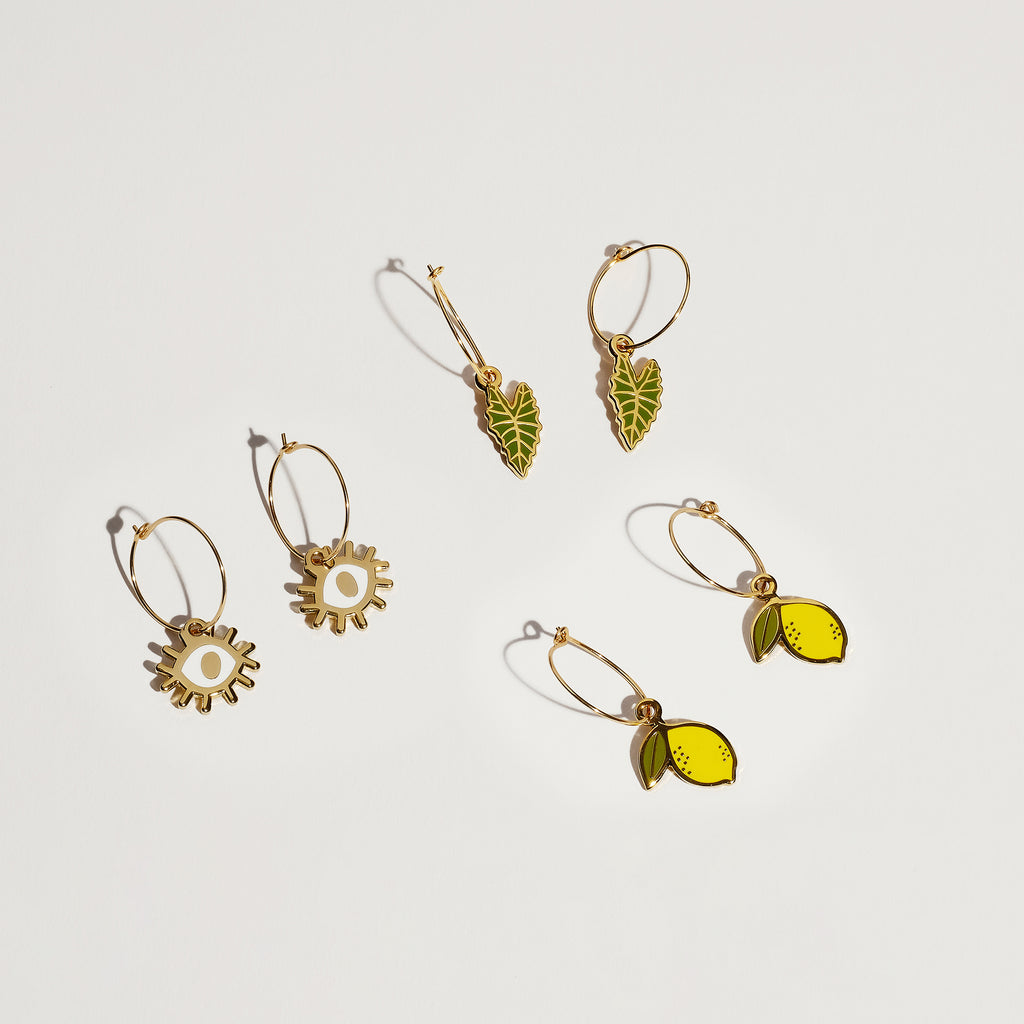 Alocasia Polly Leaf Plant Hoop Earrings - SleepyMountain