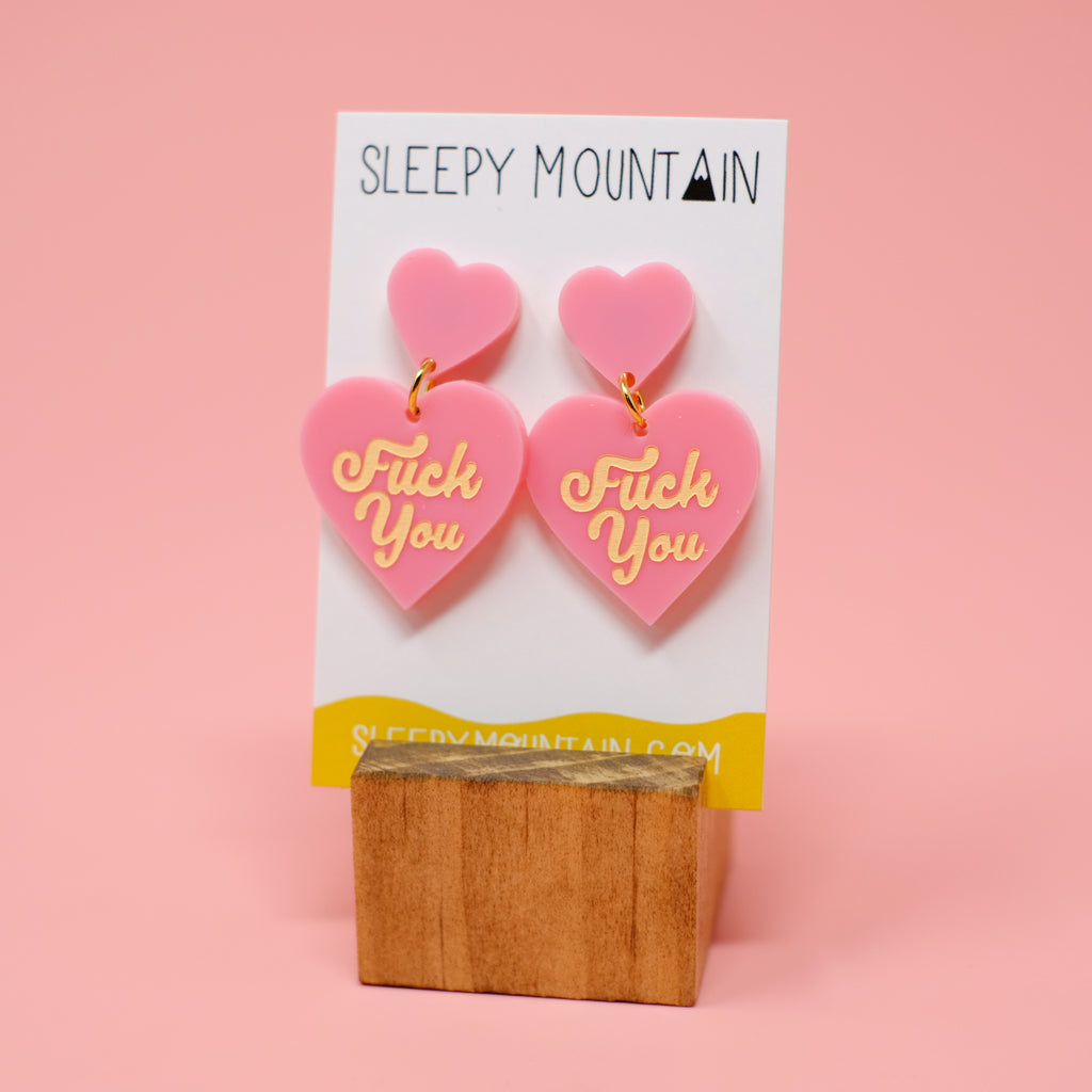 F U Double Heart Dangles - Pink - SleepyMountain