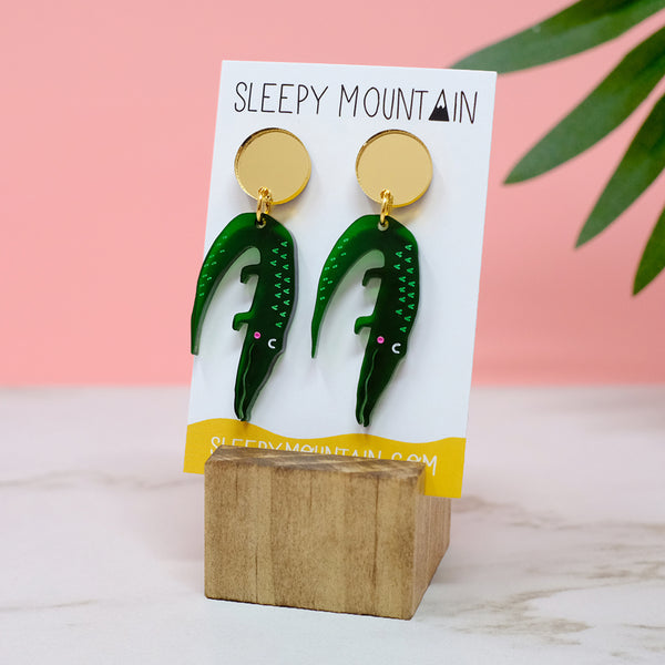 Alligator Earrings - Acrylic Dangle - SleepyMountain