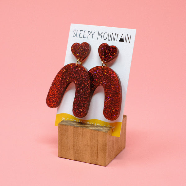 Heart Arches - Red Glitter - SleepyMountain