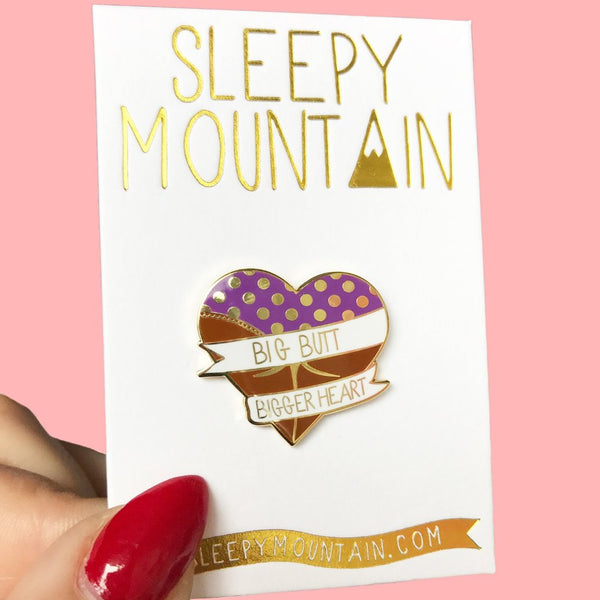 Big Butt Bigger Heart Enamel Pin - Brown