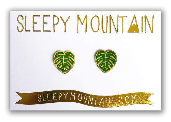 Monstera Leaf Earrings - Gold Plated - SleepyMountain