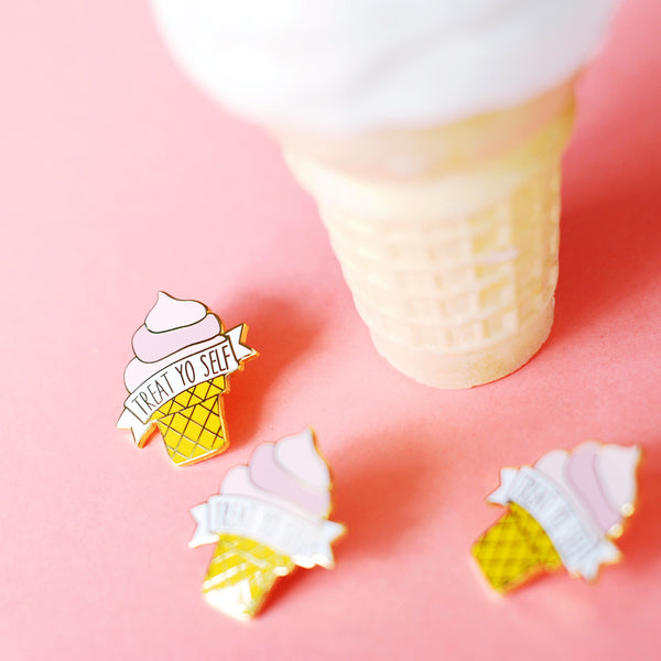 Treat Yo Self Ice Cream Cone Enamel Pin - SleepyMountain