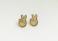 SALE - Peace Emoji Earrings - 22k Gold Plated (Beige) - SleepyMountain