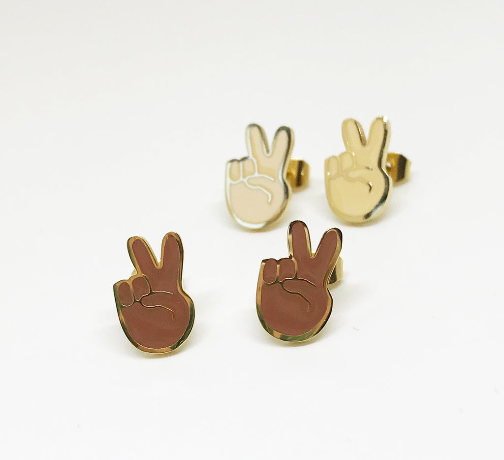 SALE - Peace Emoji Earrings - 22k Gold Plated (Brown) - SleepyMountain