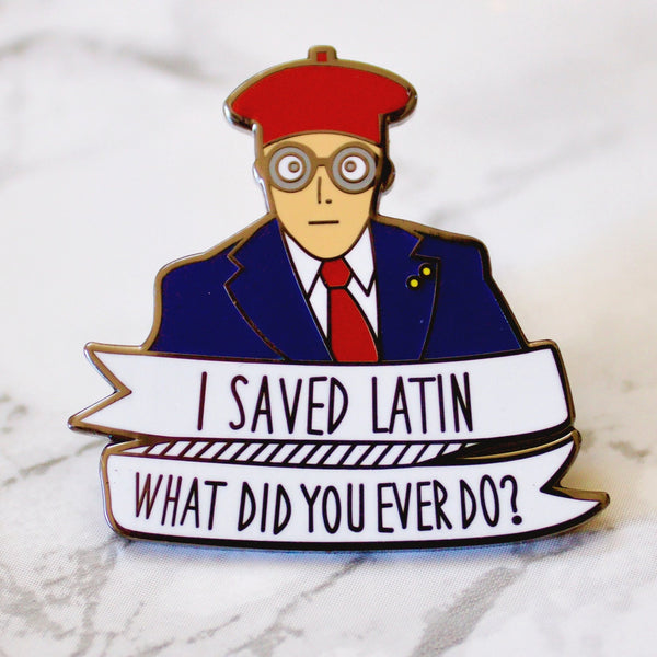Max Fischer I Saved Latin Enamel Pin - SleepyMountain