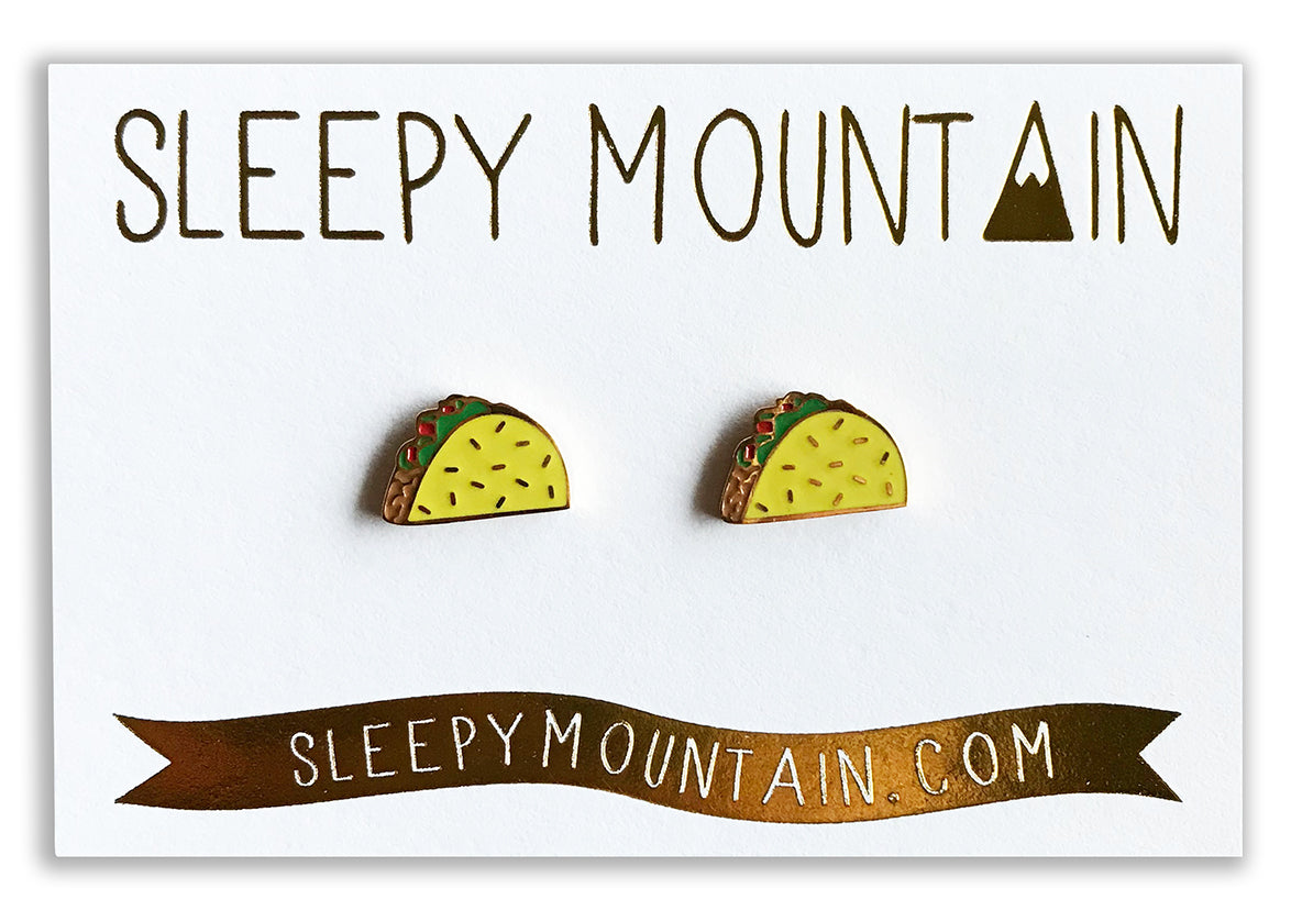 Taco Earrings - 22k Gold Plated - SleepyMountain
