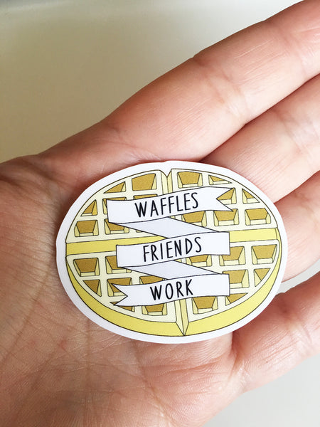 Waffles Friends Work Sticker