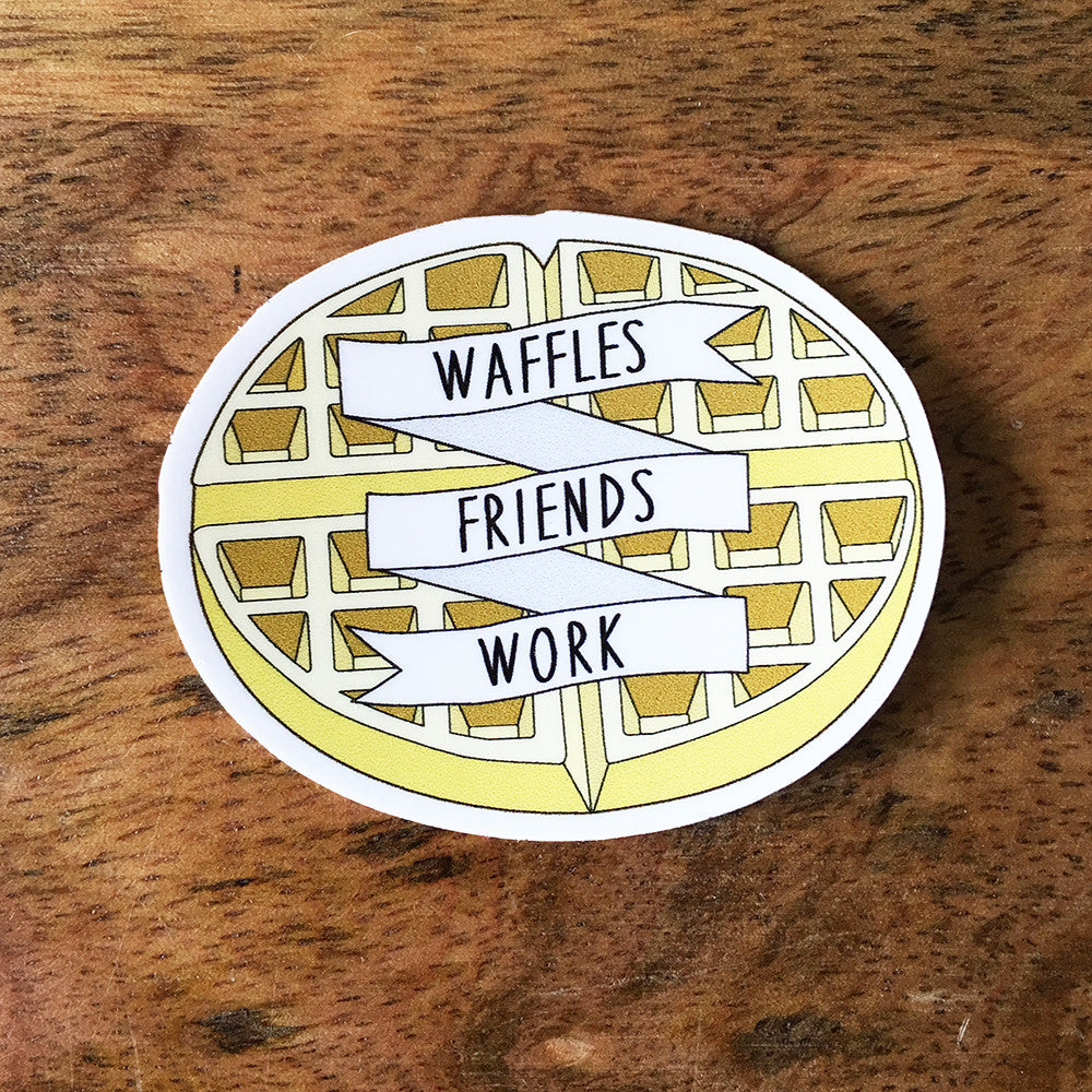 Waffles Friends Work Sticker - SleepyMountain