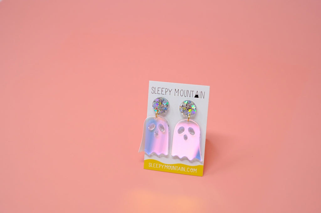 Holographic Ghost Dangle Earrings - SleepyMountain