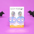 Holographic Heart Eyes Skull Dangle Earrings - SleepyMountain