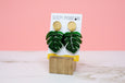 Monstera Leaf Earrings - Green Acrylic Dangles - SleepyMountain