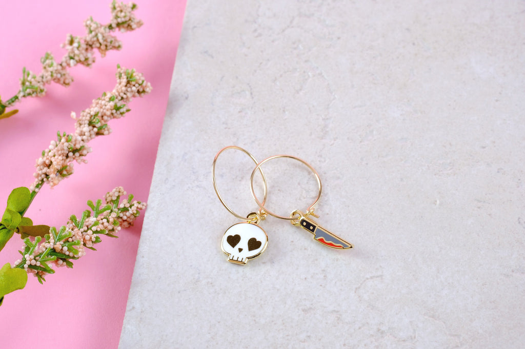 Skull & Knife Hoop Earrings - SleepyMountain