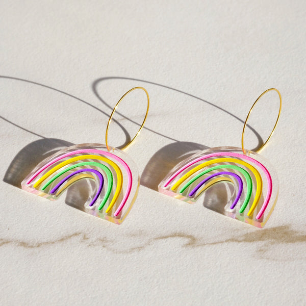 Rainbow Hoop Earrings - SleepyMountain