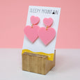 Double Heart Dangles - Pink - SleepyMountain