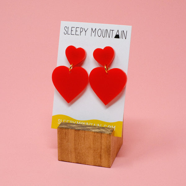 Double Heart Dangles - Red - SleepyMountain