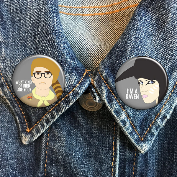What Kind of Bird Are You? - Moonrise Kingdom Buttons - SleepyMountain