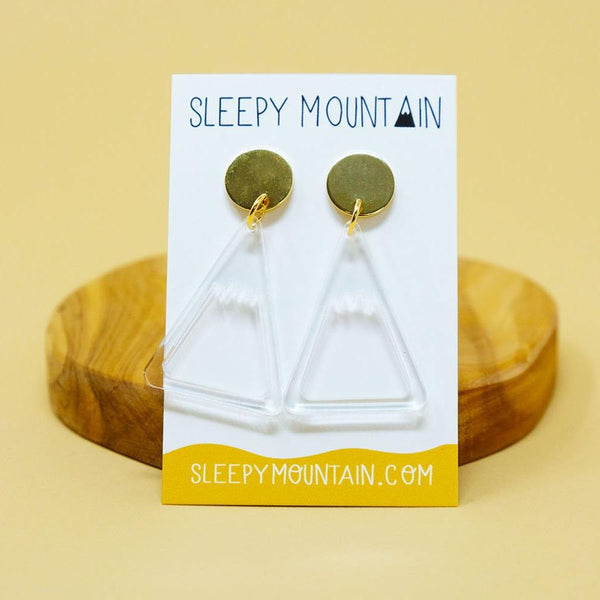 Clear Mountain Earrings - Dangle - SleepyMountain