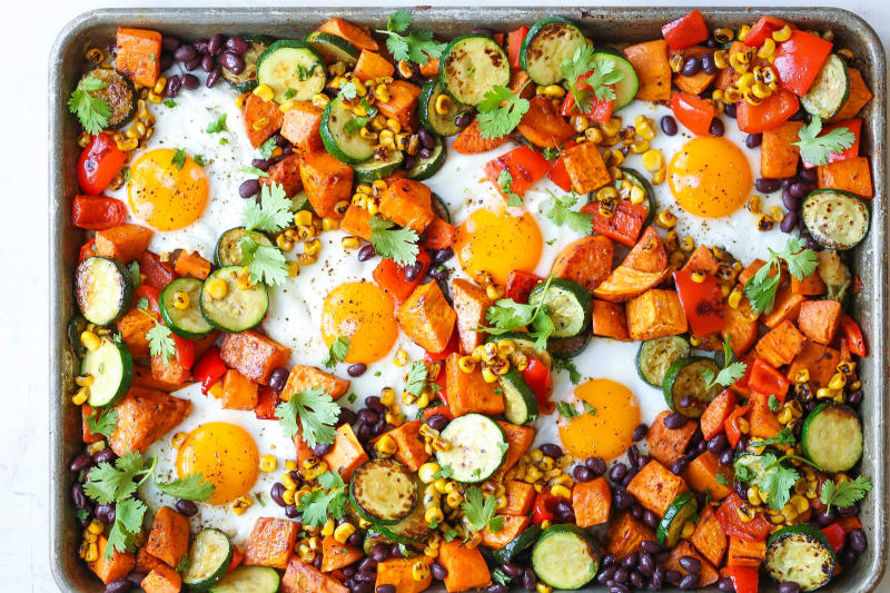 Sheet Pan Sweet Potatoes and Black Bean Hash