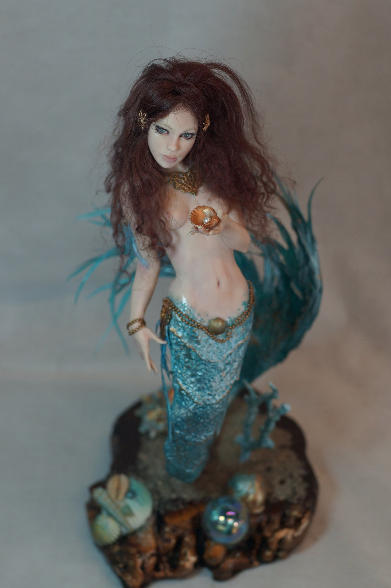 Jade Mermaid OOAK Fixed Sculpt by Natalie Ruiz
