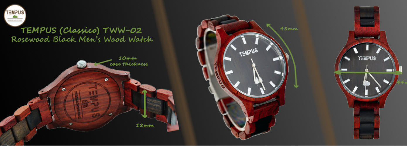 TEMPUS® Classico - Two Tone Rosewood Black Sandalwood Men's Wood Wooden Watch - TWW-02